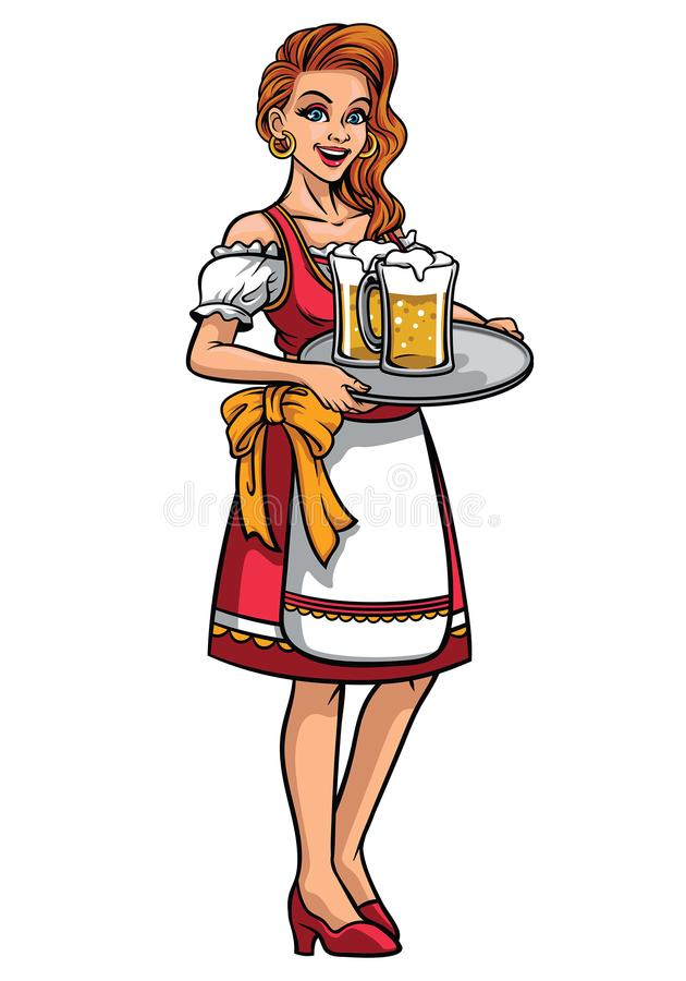 Beautiful girl of oktoberfest wearing traditional clothing royalty free illustration