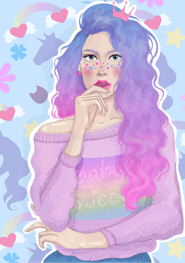 Vector beautiful girl with trendy bright hair and rainbow sweater has reflected on the background of flowers and unicorns stock images