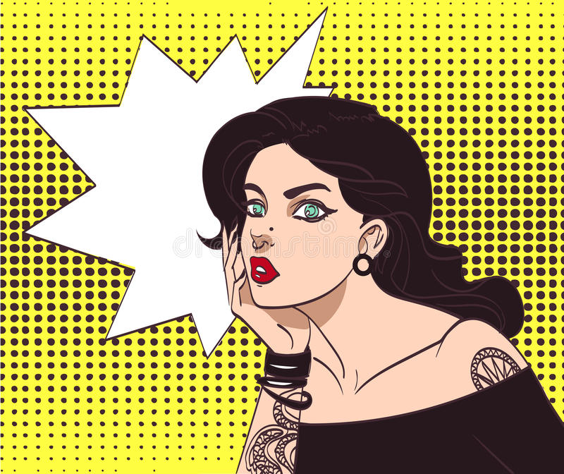Vector beautiful gothic punk hipster girl in pop art style with tatoo and speech wow bubble. Eps 10 in many layers for vector illustration