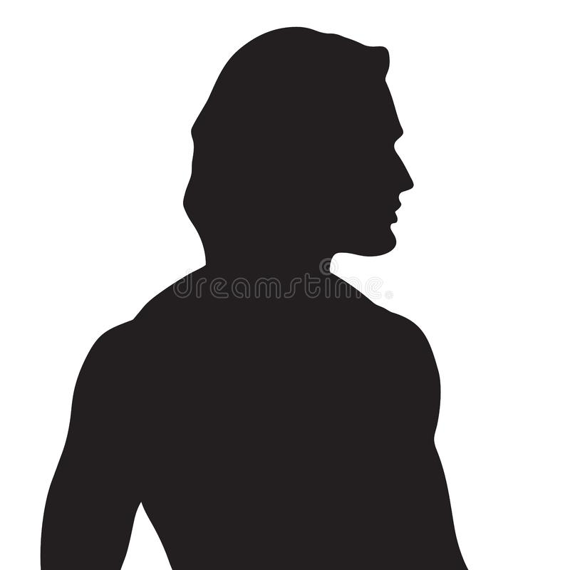 Vector beautiful male silhouette in profile royalty free illustration
