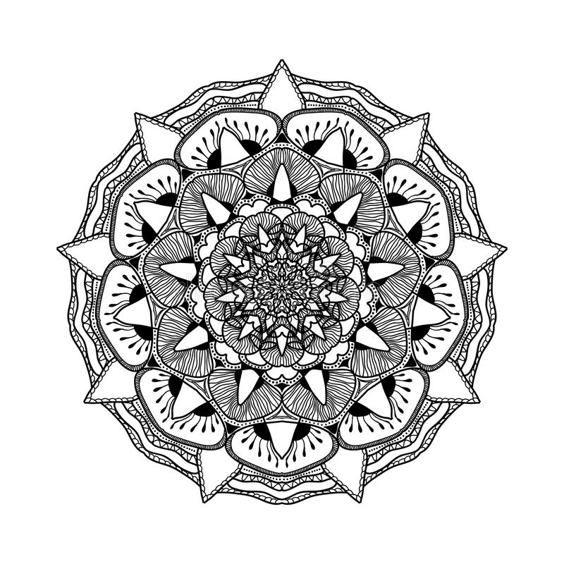 Vector beautiful mandala. Black and white pattern for design and painting. Floral decorative element. Ethnic oriental motifs. Circular ornament royalty free illustration