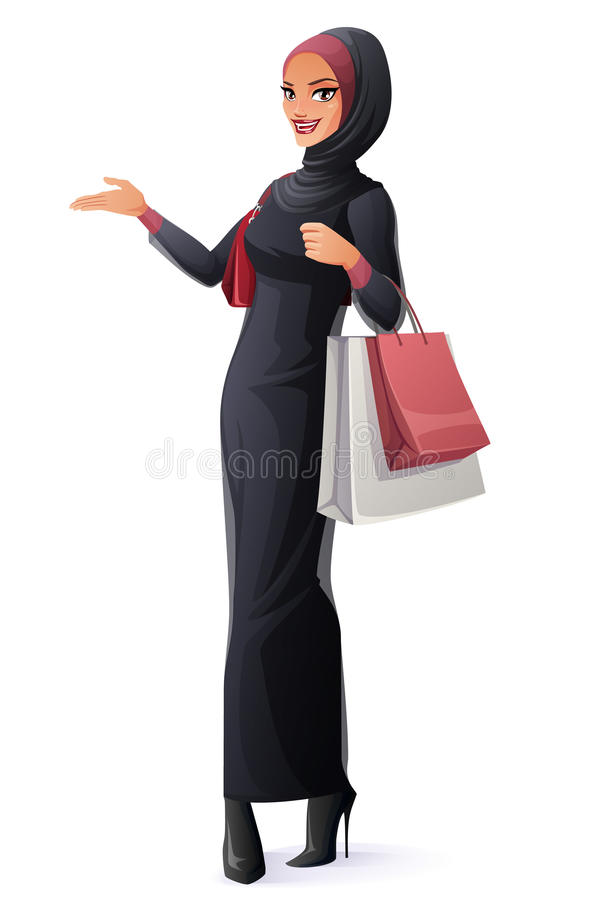 Vector beautiful Muslim woman in hijab standing with shopping bags. Beautiful young Muslim Arab woman in abaya and hijab standing with shopping bags and royalty free illustration