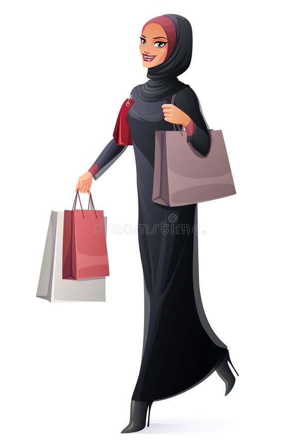 Vector beautiful Muslim woman in hijab walking with shopping bags. Beautiful young Muslim Arab woman in abaya and hijab walking with shopping bags and smiling stock illustration
