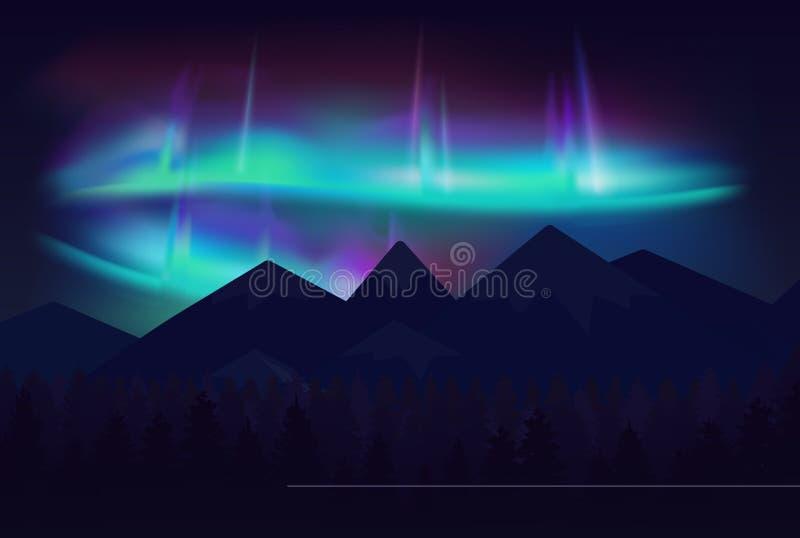 Vector beautiful northern lights aurora borealis in night sky over cartoon mountains. Vector beautiful northern lights aurora borealis in night sky over cartoon stock illustration