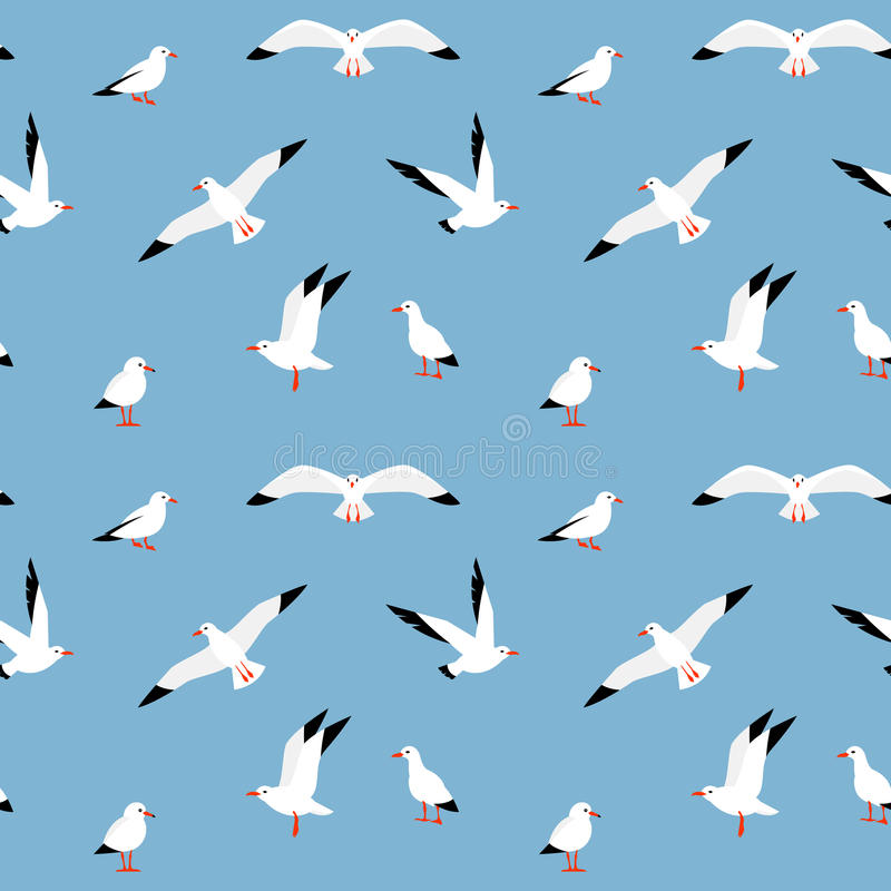 Free Vector Beautiful Pattern With Seagulls. Royalty Free Stock Photo - 82112975