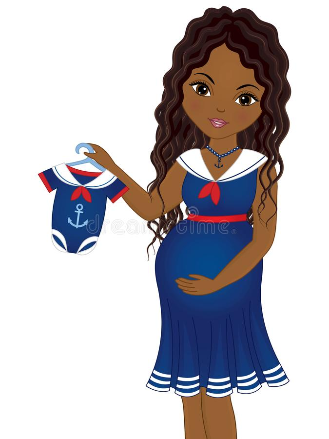 Vector Pregnant African American Woman Dressed in Nautical Style. Vector beautiful pregnant African American woman dressed in nautical style holding baby suit royalty free illustration