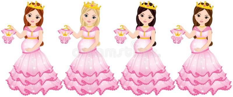 Vector Beautiful Pregnant Women Dressed as Princesses stock illustration