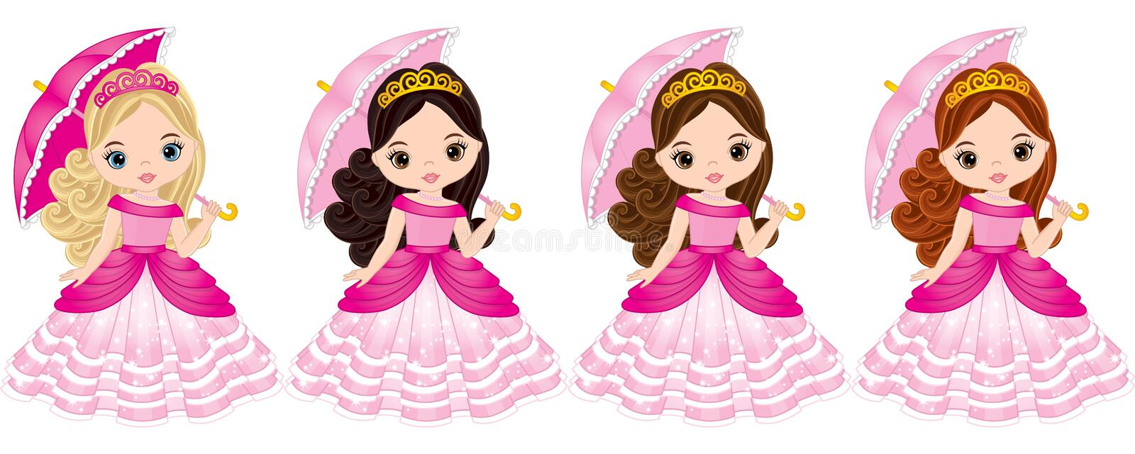Vector Beautiful Princesses with Various Hair Colors stock illustration