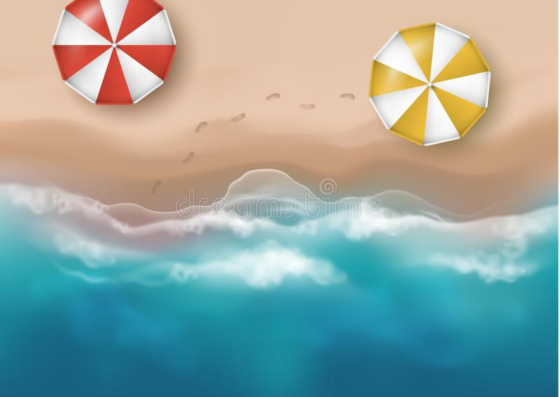 Vector beautiful realistic top view illustration of sandy summer beach with umbrellas and footprints - template for your poster of. Banner vector illustration