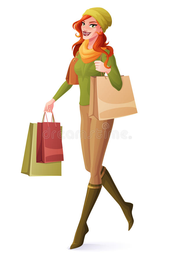 Vector beautiful redhead woman walking with shopping bags and smiling. stock illustration
