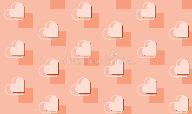 Vector beautiful seamless geometric pattern with hearts. Holiday repeating texture for St. Valentine`s Day. Simple stylish stock illustration