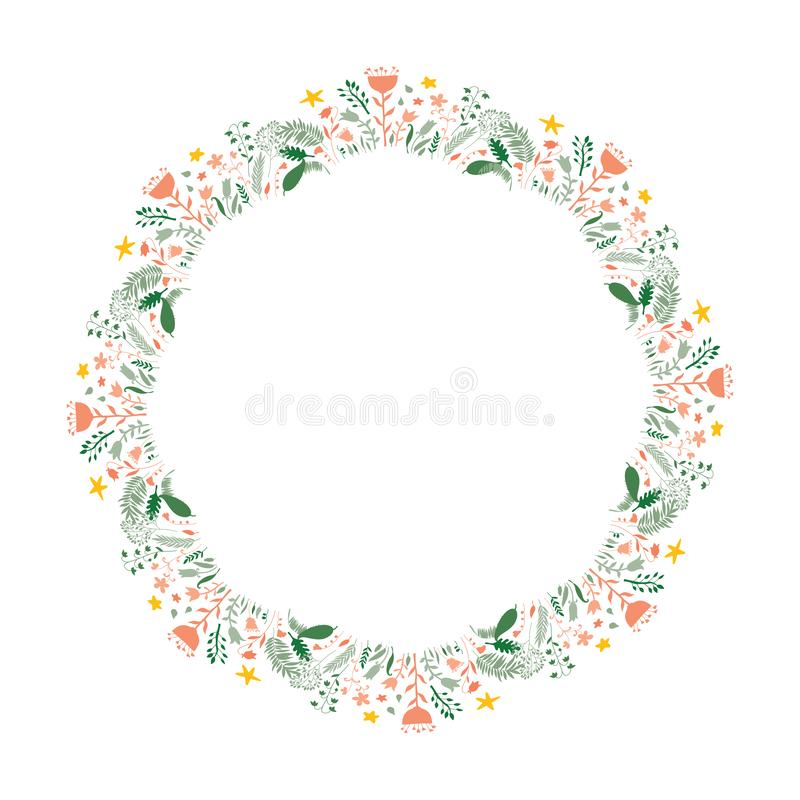 Vector beautiful wreath with flowers, leaves and cartoon style clouds with water drops. Design for invitation, wedding, stickers, royalty free illustration