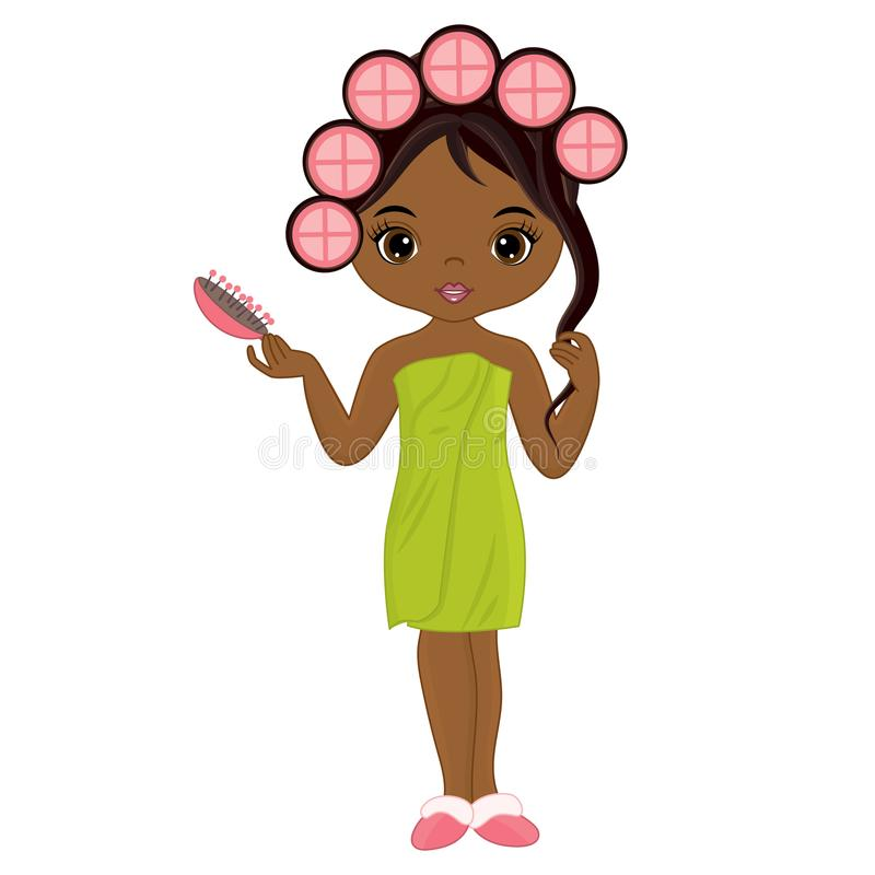 Vector Beautiful African American Girl Doing Hairstyle. Vector beautiful young African American girl taking spa treatment. Vector African American girl with stock illustration