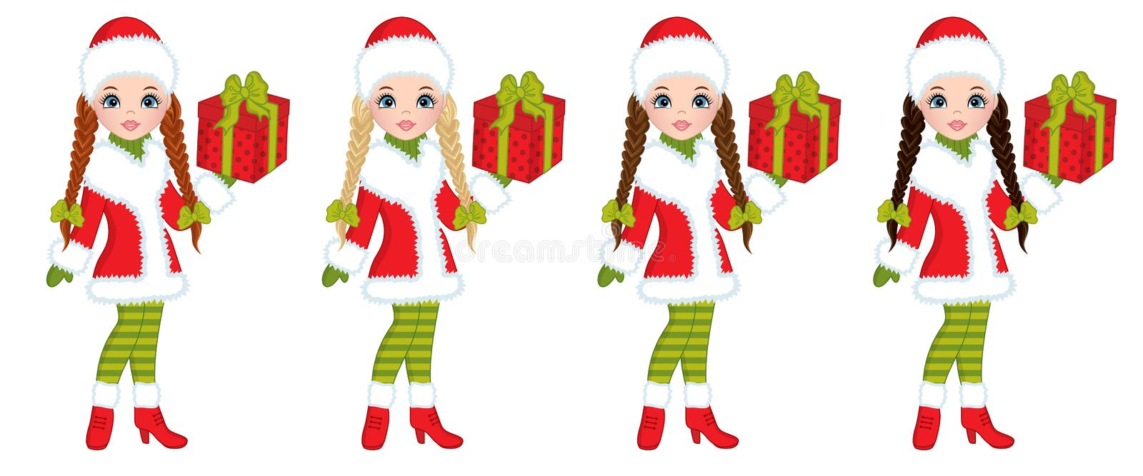 Vector Beautiful Young Girls with Christmas Gifts stock illustration