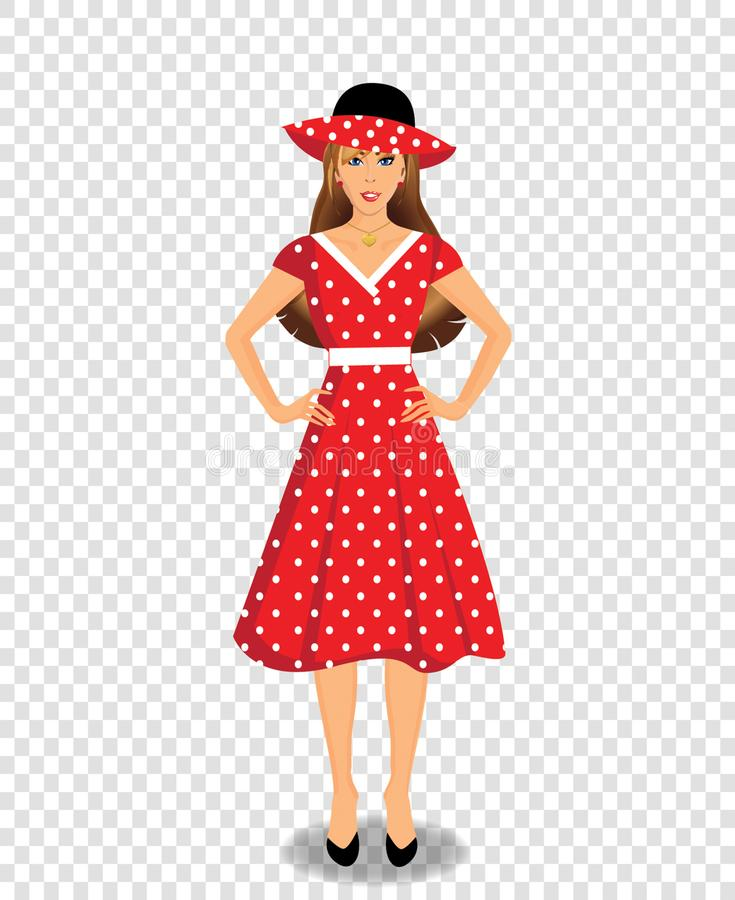 Beautiful young woman character wearing red dress and hat royalty free illustration