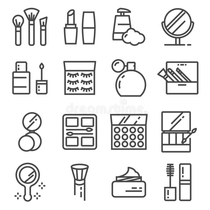Vector beauty and cosmetic line icons set royalty free illustration