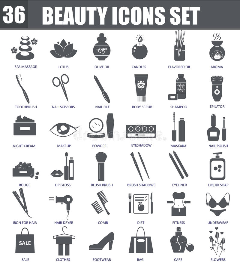 Vector Beauty cosmetics black icons set. Dark grey symbols on white background. Vector Beauty cosmetics black icons set. Dark grey symbols on white background stock illustration