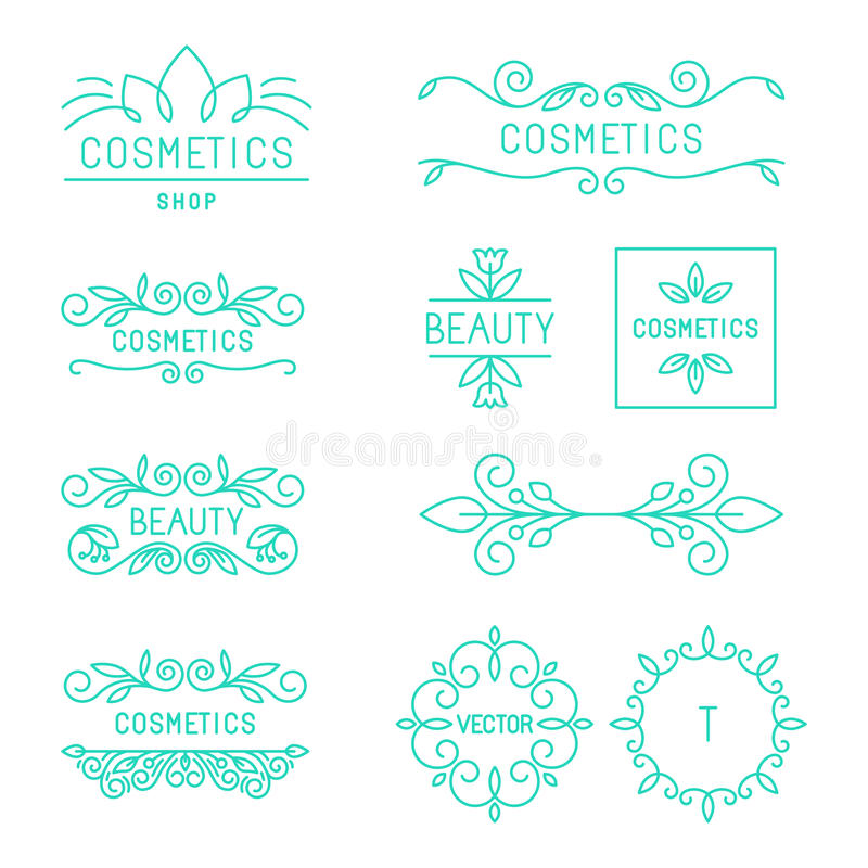 Vector beauty and cosmetics logos. And labels in trendy linear style - organic and natural badges and icons stock illustration