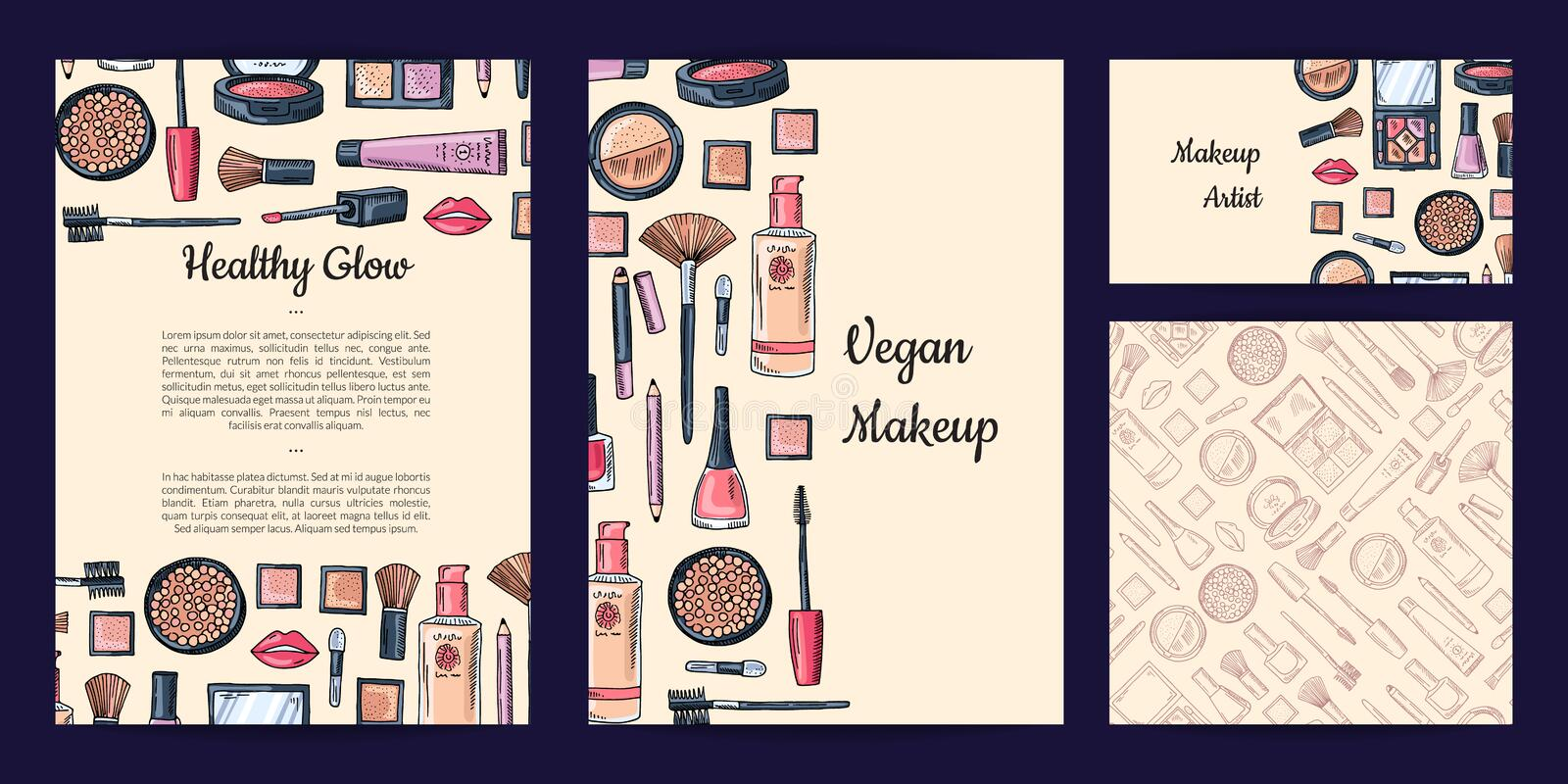 Vector beauty or makeup brand set with flyer or card, business card templates and pattern vector illustration