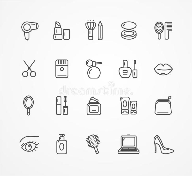 Vector beauty outline icon set. Vector illustration beauty outline icon set. black and white. The concept of beauty shop vector illustration