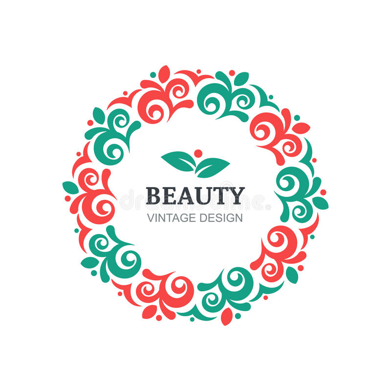 Vector beauty salon logo design template. Decorative vintage ornament, flourishes frame background. Abstract concept for floral shop, spa, natural organic stock illustration