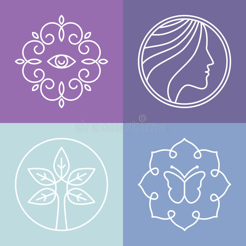 Vector beauty and spa line logos stock illustration