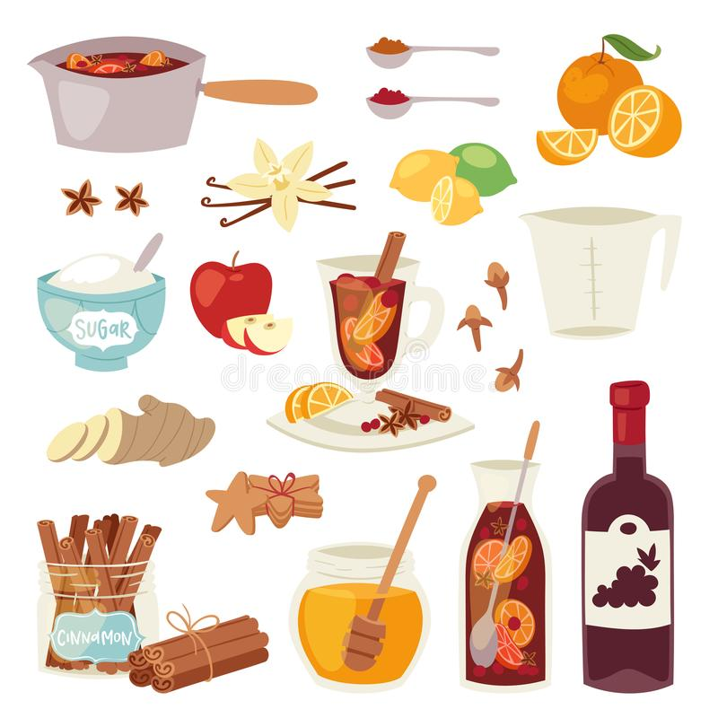 Vector a bebida vermelha quente ferventada com especiarias do anis do inverno da especiaria da canela da ilustração dos ingridien ilustração stock
