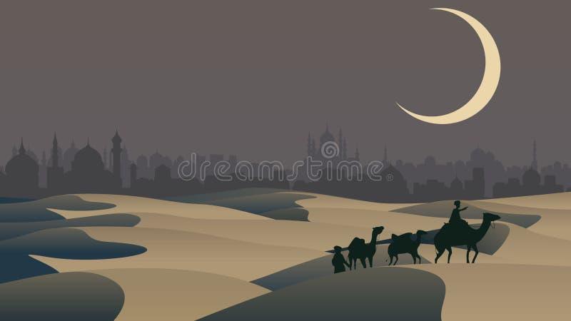 Vector bedouin caravan camels against over city. Vector horizontal illustration sand desert: bedouin caravan camels against over city on horizon royalty free illustration