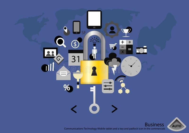 Vector Bedrijfs Communicatie Technologie Mobiele tablet en een sleutel en hangslotpictogram in het reclamespots vlakke ontwerp stock illustratie