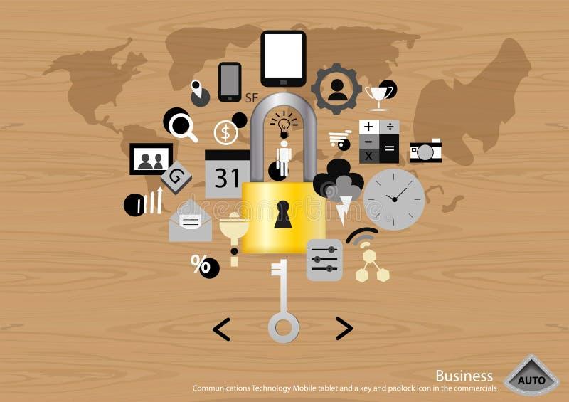 Vector Bedrijfs Communicatie Technologie Mobiele tablet en een sleutel en hangslotpictogram in het reclamespots vlakke ontwerp vector illustratie