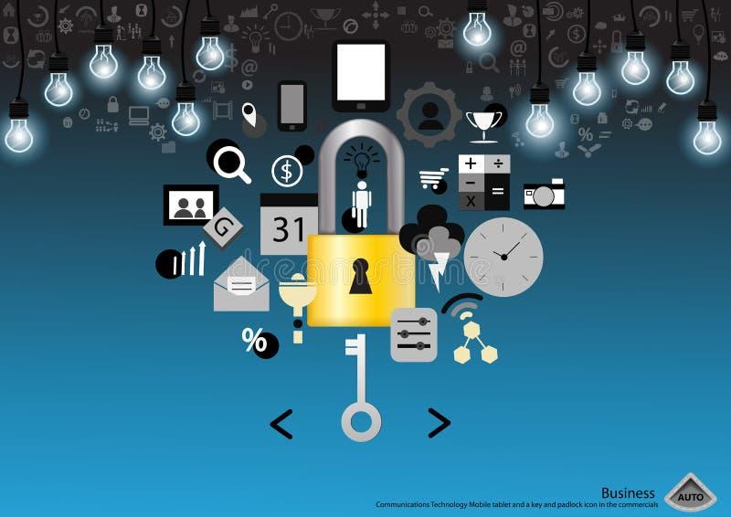 Vector Bedrijfs Communicatie Technologie Mobiele tablet en een sleutel en hangslotpictogram in het reclamespots vlakke ontwerp royalty-vrije illustratie