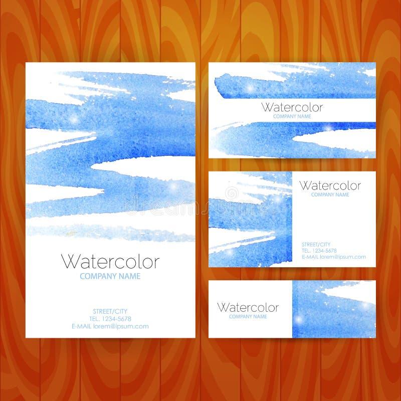 Vector Bedrijfs Vastgesteld Malplaatje met Blauwe Waterverf Abstracte Splas vector illustratie