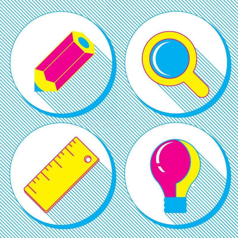 Vector bedrijfsconcept, infographic ontwerpelementen in vlakke retro stijl, reeks bedrijfspictogrammen met een potlood, vergrootg royalty-vrije illustratie