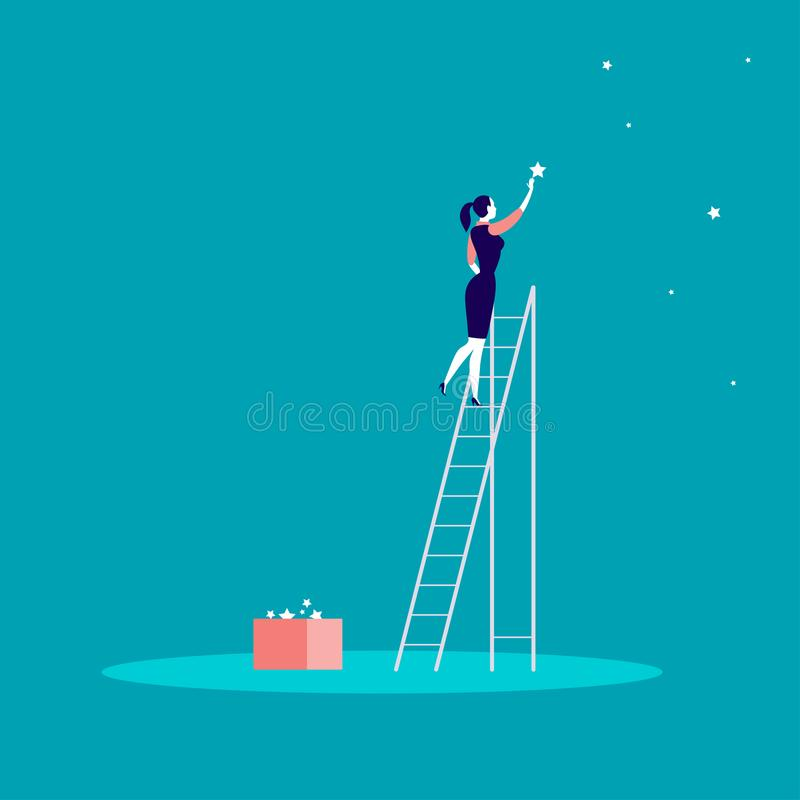 Vector bedrijfsconceptenillustratie met bedrijfsdame die zich op treden bevinden en ster op de hemel bereiken Achtergrond voor ee royalty-vrije illustratie