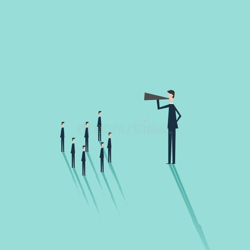 Vector bedrijfsfinanciën Bedrijfsmens met een megafoon als symbool voor aankondiging, het openbare spreken, presentatie vector illustratie