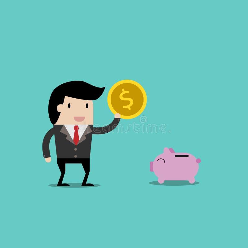 Vector bedrijfsfinanciën sparen geld voor investeringsconcept, beeldverhaalzakenman met geld in zijn te bewaren hand beeldverhaal royalty-vrije illustratie