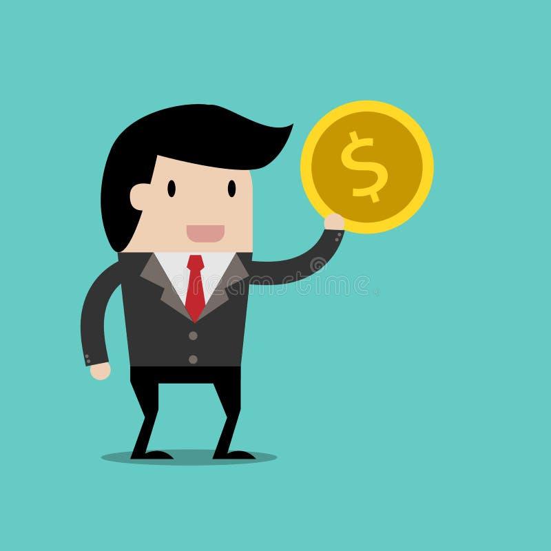 Vector bedrijfsfinanciën sparen geld voor investeringsconcept, beeldverhaalzakenman met geld in zijn te bewaren hand beeldverhaal vector illustratie
