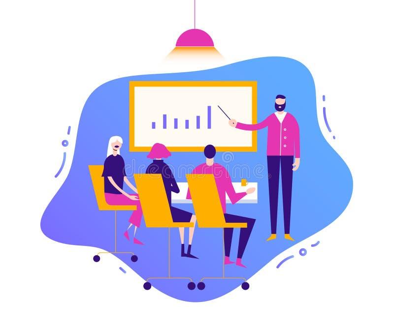 Vector bedrijfsillustratie, gestileerde karakters Vergaderingsmensen, het collectieve concept van de conferentiebespreking consul stock illustratie
