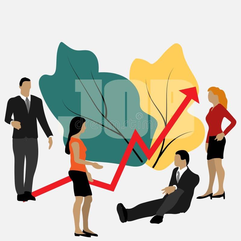 Vector bedrijfsillustratie, leidingskwaliteiten in een creatief team, richting aan een succesvolle weg, vector illustratie