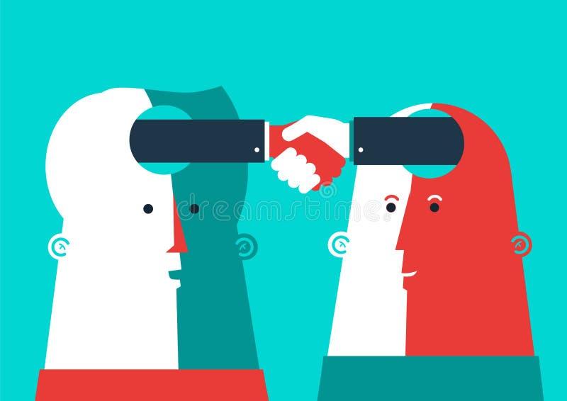 Vector Bedrijfsillustratie Twee hoofden het schudden vector illustratie