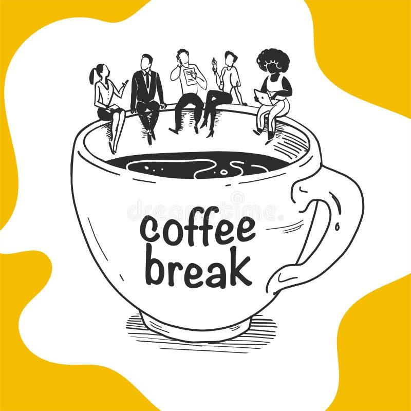 Vector bedrijfsillustratie van het bedrijfzitting van bureaumensen op grote koffiekop die, het eten, het bespreken, ge?soleerd we royalty-vrije illustratie