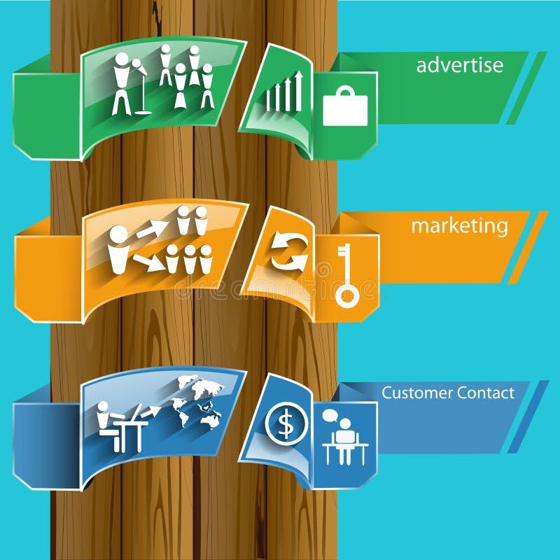 Vector Bedrijfspictogrammenpublicitaire mededelingen aan klanten vlak ontwerp wereldwijd vector illustratie