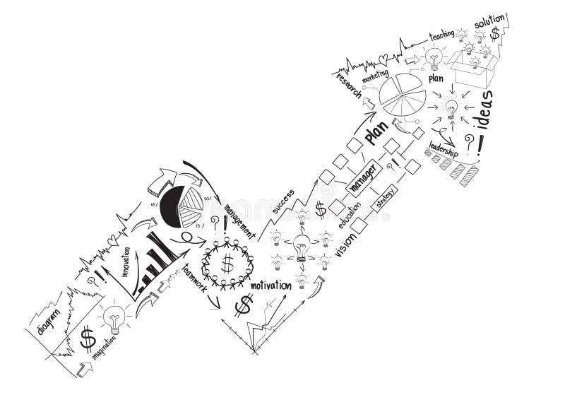 Vector bedrijfssuccesconcept met tekeningsbegin stock illustratie