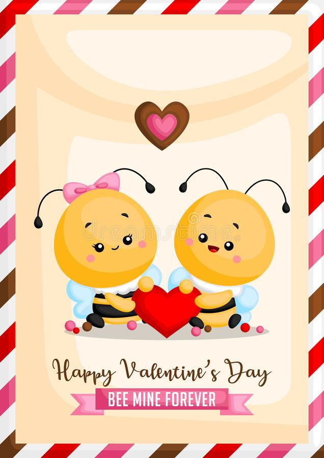 A Vector of Bee Card Holding Heart Together for Celebrating Valentine's Day with saying Bee Mine Forever on the Banner royalty free illustration