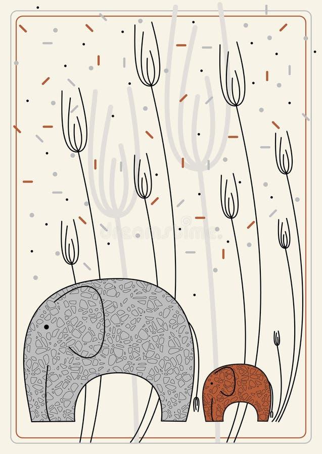 Vector beeld met olifant royalty-vrije illustratie