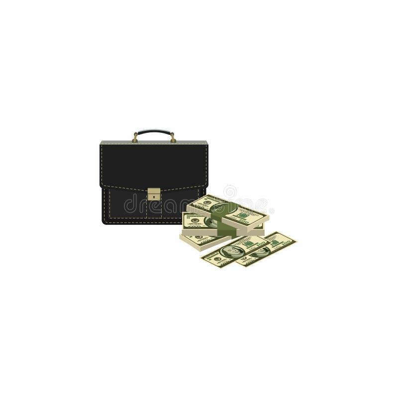 Vector beeld Portefeuille en geld Aktentas en Contant geld Geval en dollars vector illustratie