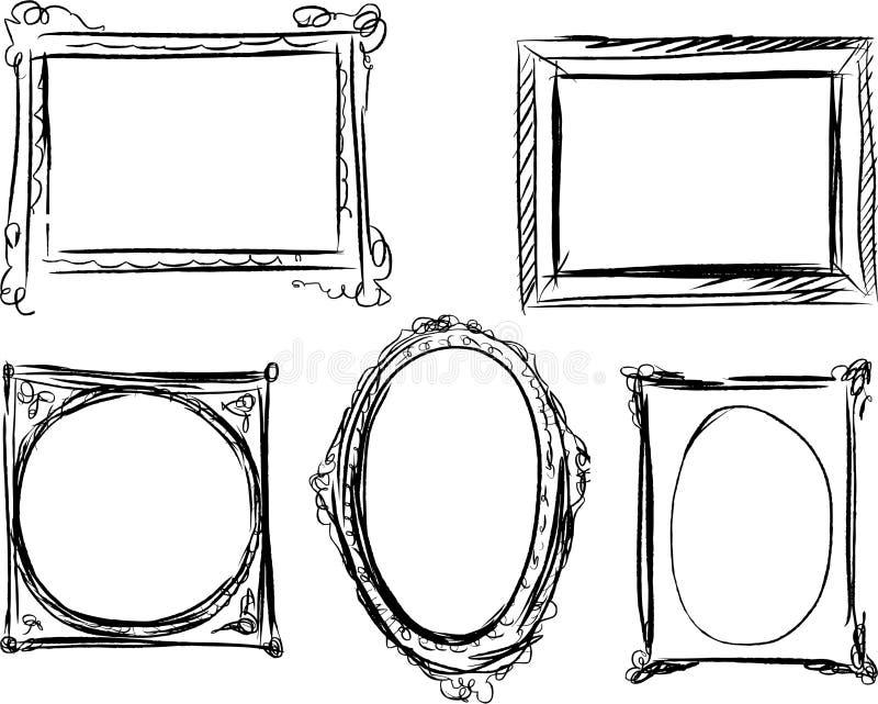 Hand getrokken kaders stock illustratie