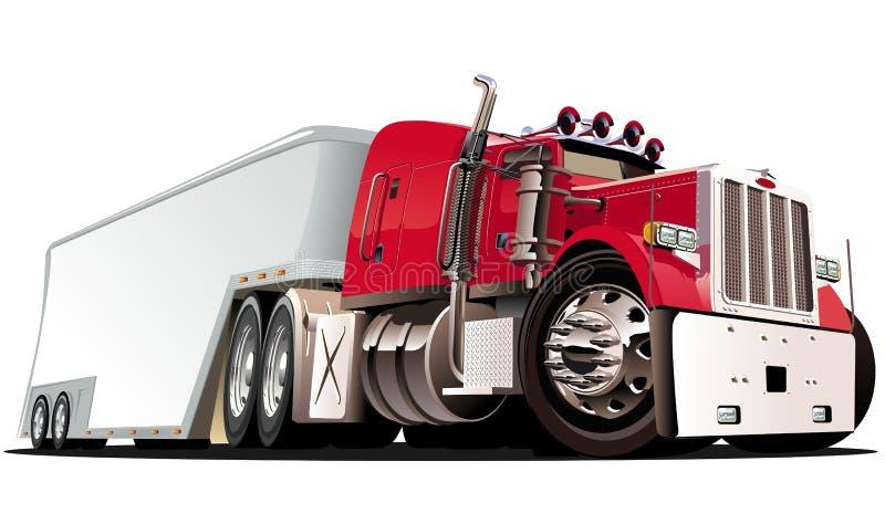 Vector beeldverhaal semi vrachtwagen stock illustratie