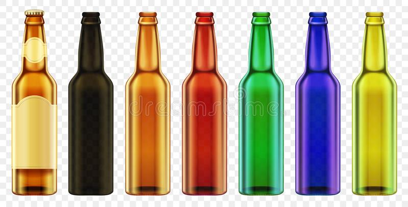 Vector Beer bottle color glass . Packaging mockup with realistic bottles set. royalty free illustration