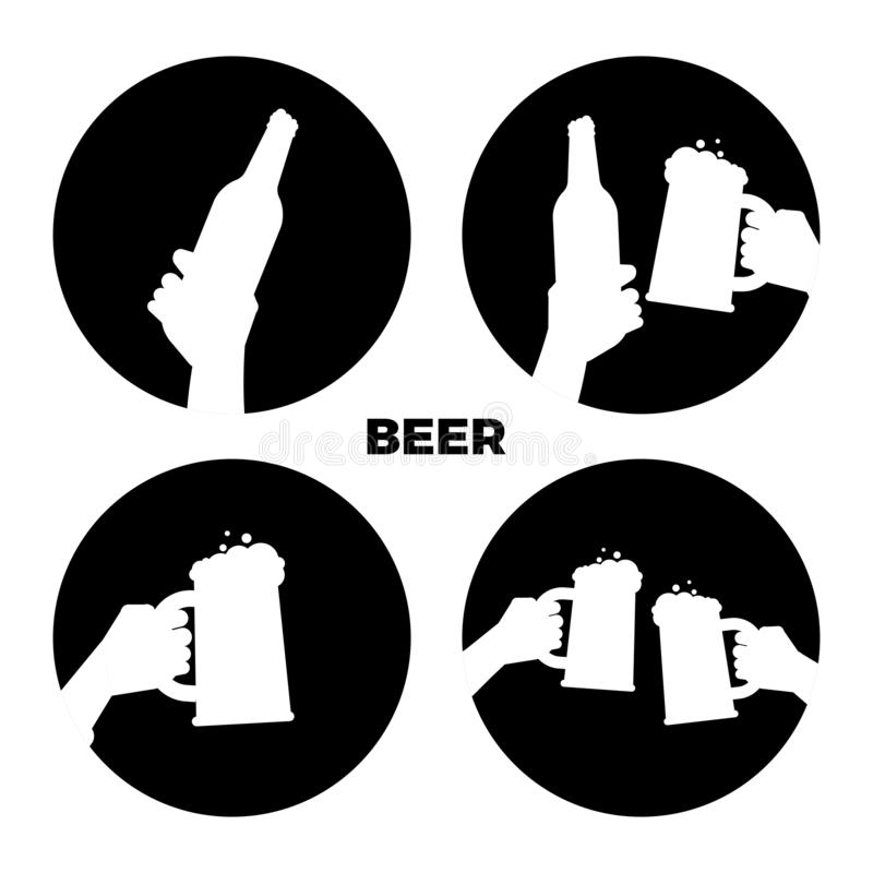 Vector beer icons set. Black and white beer in hands silhouettes royalty free illustration